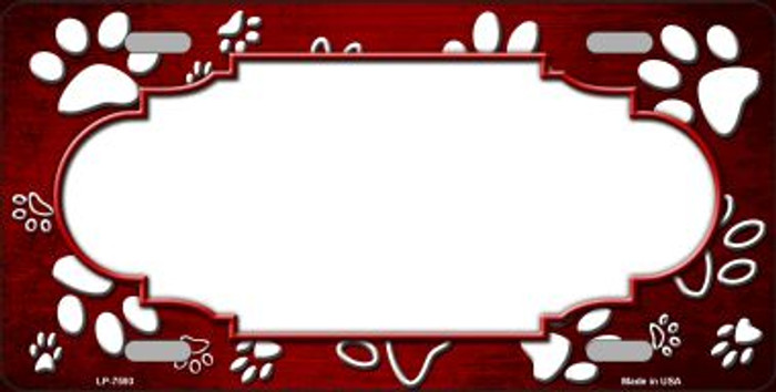 Paw Print Scallop Red White Wholesale Metal Novelty License Plate