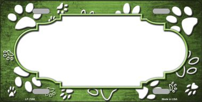 Paw Print Scallop Lime Green White Wholesale Metal Novelty License Plate