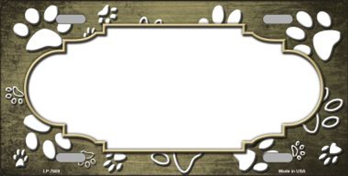 Paw Print Scallop Gold White Wholesale Metal Novelty License Plate