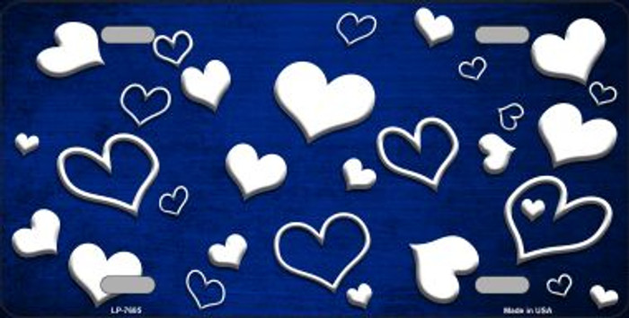 Blue White Love Print Oil Rubbed Wholesale Metal Novelty License Plate