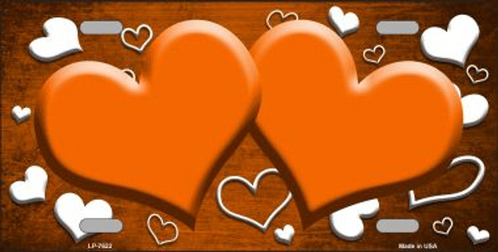 Orange White Love Print Hearts Oil Rubbed Wholesale Metal Novelty License Plate