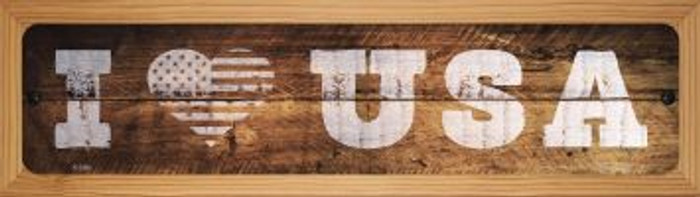 I Love USA Wholesale Novelty Wood Mounted Metal Small Street Sign WB-K-1406