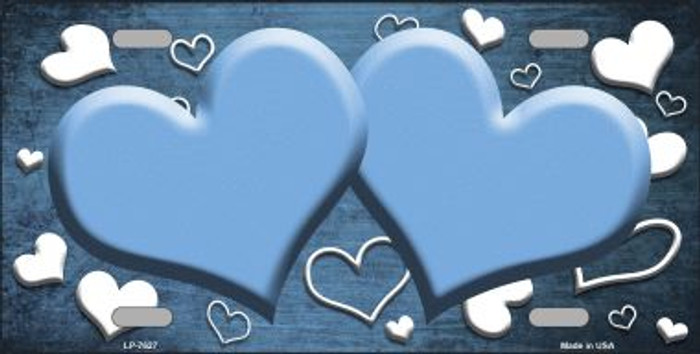 Light Blue White Love Print Hearts Oil Rubbed Wholesale Metal Novelty License Plate