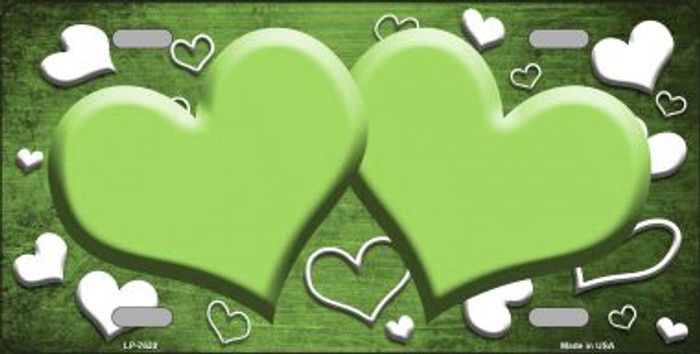 Lime Green White Love Print Hearts Oil Rubbed Wholesale Metal Novelty License Plate