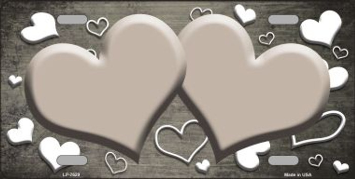 Tan White Love Print Hearts Oil Rubbed Wholesale Metal Novelty License Plate