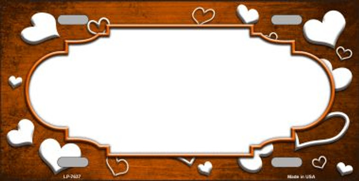 Orange White Love Print Scallop Oil Rubbed Wholesale Metal Novelty License Plate