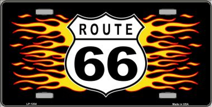 Route 66 Flames Novelty Wholesale Metal License Plate