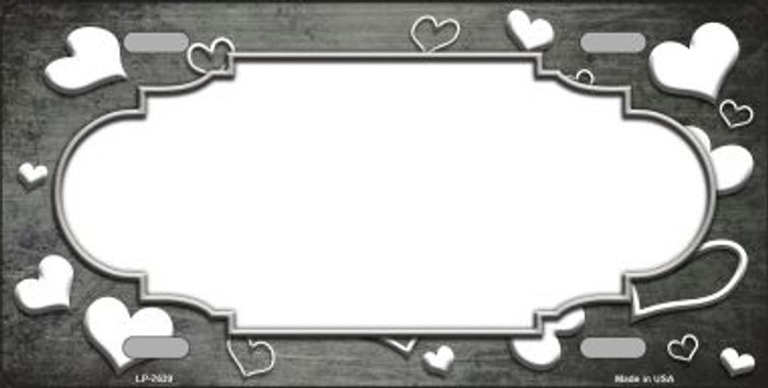 Gray White Love Print Scallop Oil Rubbed Wholesale Metal Novelty License Plate