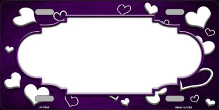 Purple White Love Print Scallop Oil Rubbed Wholesale Metal Novelty License Plate