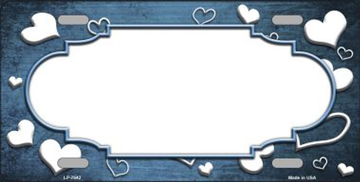 Light Blue White Love Print Scallop Oil Rubbed Wholesale Metal Novelty License Plate