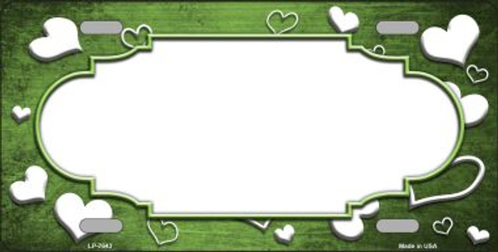 Lime Green White Love Print Scallop Oil Rubbed Wholesale Metal Novelty License Plate