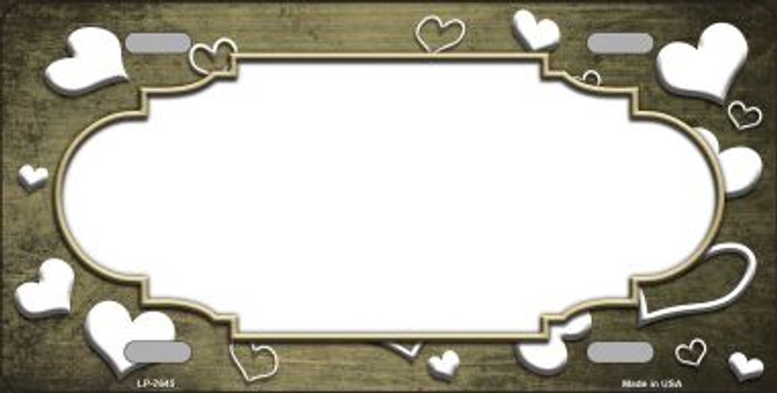 Gold White Love Print Scallop Oil Rubbed Wholesale Metal Novelty License Plate