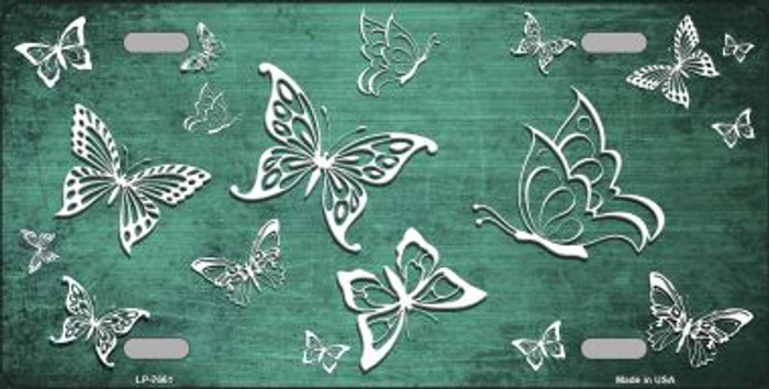 Mint White Butterfly Print Oil Rubbed Wholesale Metal Novelty License Plate