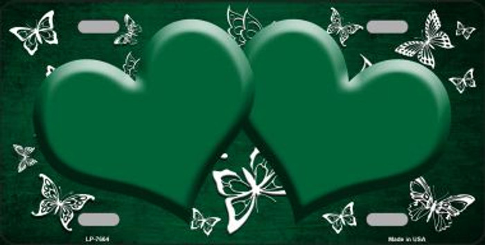 Green White Hearts Butterfly Print Oil Rubbed Wholesale Metal Novelty License Plate