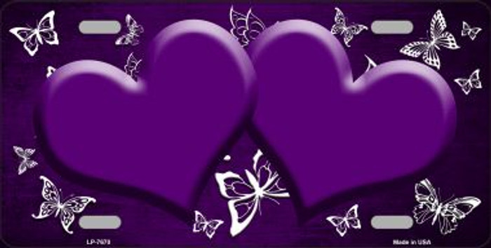 Purple White Hearts Butterfly Print Oil Rubbed Wholesale Metal Novelty License Plate