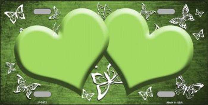 Lime Green White Hearts Butterfly Print Oil Rubbed Wholesale Metal Novelty License Plate
