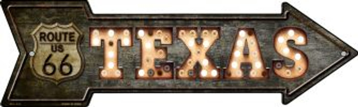 Texas Route 66 Bulb Letters Wholesale Novelty Mini Metal Arrow MA-426