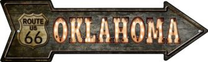 Oklahoma Route 66 Bulb Letters Wholesale Novelty Mini Metal Arrow MA-427