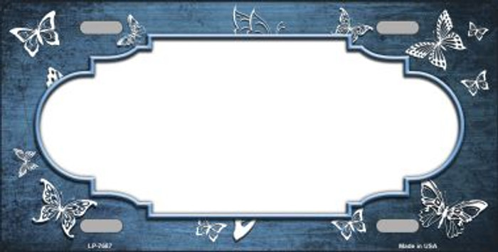 Light Blue White Scallop Butterfly Print Oil Rubbed Wholesale Metal Novelty License Plate