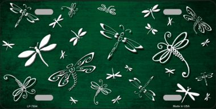 Green White Dragonfly Print Oil Rubbed Wholesale Metal Novelty License Plate