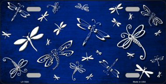 Blue White Dragonfly Print Oil Rubbed Wholesale Metal Novelty License Plate
