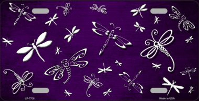Purple White Dragonfly Print Oil Rubbed Wholesale Metal Novelty License Plate