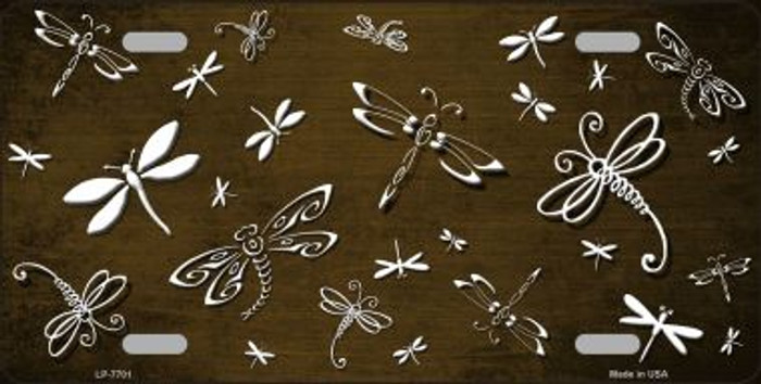 Brown White Dragonfly Print Oil Rubbed Wholesale Metal Novelty License Plate