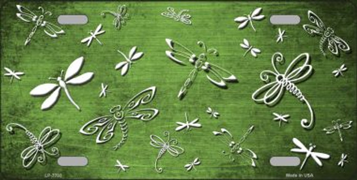 Lime Green White Dragonfly Print Oil Rubbed Wholesale Metal Novelty License Plate