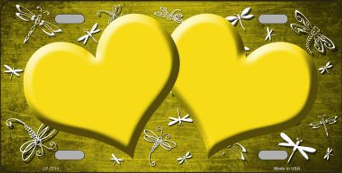 Yellow White Dragonfly Hearts Print Oil Rubbed Wholesale Metal Novelty License Plate