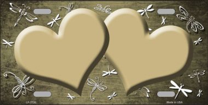 Gold White Dragonfly Hearts Print Oil Rubbed Wholesale Metal Novelty License Plate