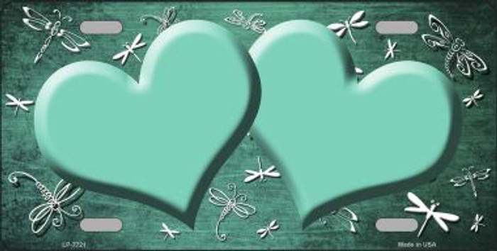 Mint White Dragonfly Hearts Print Oil Rubbed Wholesale Metal Novelty License Plate