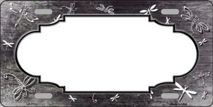 Black White Dragonfly Scallop Print Oil Rubbed Wholesale Metal Novelty License Plate