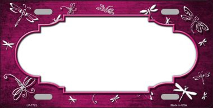 Pink White Dragonfly Scallop Print Oil Rubbed Wholesale Metal Novelty License Plate