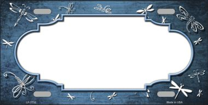 Light Blue White Dragonfly Scallop Print Oil Rubbed Wholesale Metal Novelty License Plate