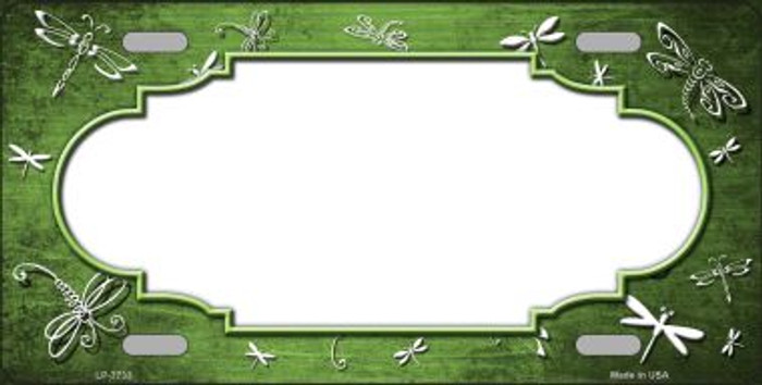 Lime Green White Dragonfly Scallop Print Oil Rubbed Wholesale Metal Novelty License Plate
