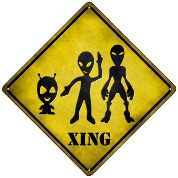 Aliens Xing Wholesale Novelty Mini Metal Crossing Sign MCX-069