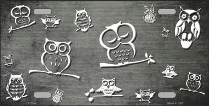 Gray White Owl Print Oil Rubbed Wholesale Metal Novelty License Plate