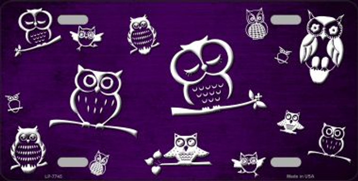 Purple White Owl Print Oil Rubbed Wholesale Metal Novelty License Plate