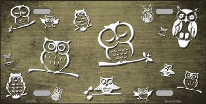 Gold White Owl Print Oil Rubbed Wholesale Metal Novelty License Plate