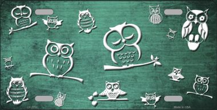 Mint White Owl Print Oil Rubbed Wholesale Metal Novelty License Plate