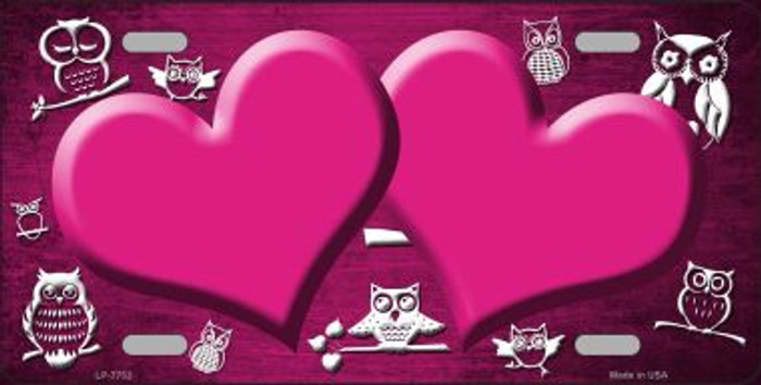 Pink White Owl Hearts Oil Rubbed Wholesale Metal Novelty License Plate