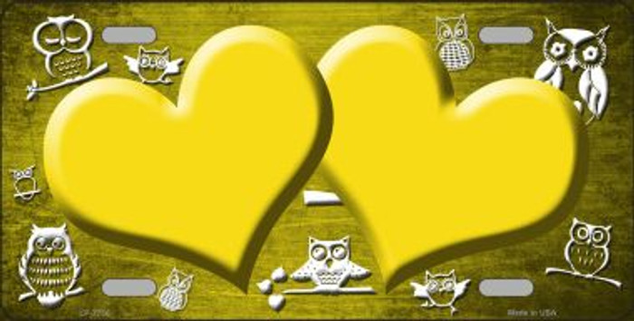 Yellow White Owl Hearts Oil Rubbed Wholesale Metal Novelty License Plate