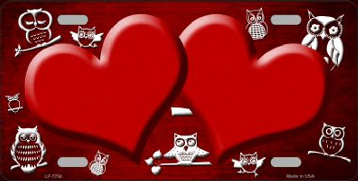 Red White Owl Hearts Oil Rubbed Wholesale Metal Novelty License Plate