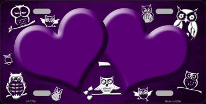 Purple White Owl Hearts Oil Rubbed Wholesale Metal Novelty License Plate