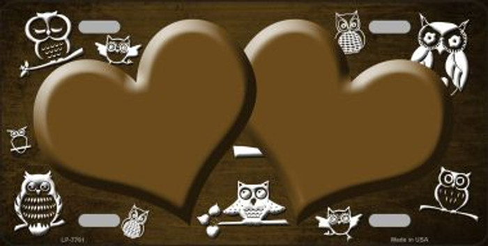 Brown White Owl Hearts Oil Rubbed Wholesale Metal Novelty License Plate