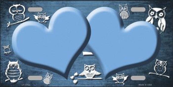 Light Blue White Owl Hearts Oil Rubbed Wholesale Metal Novelty License Plate