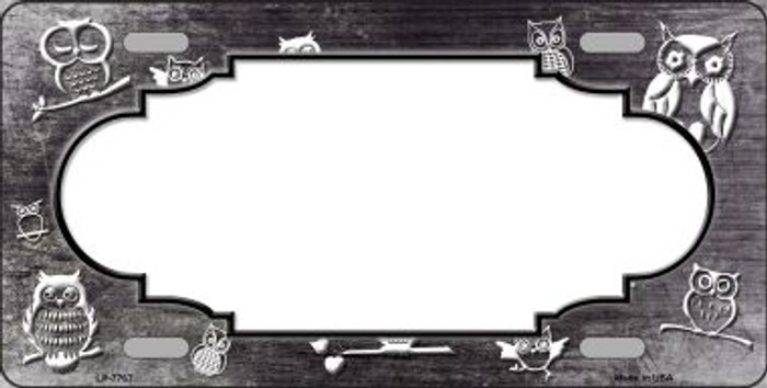 Black White Owl Scallop Oil Rubbed Wholesale Metal Novelty License Plate