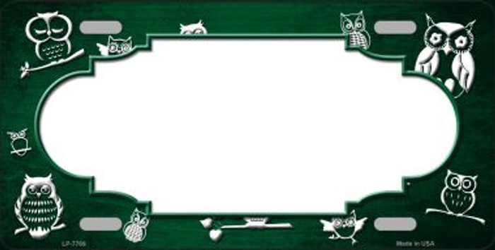 Green White Owl Scallop Oil Rubbed Wholesale Metal Novelty License Plate