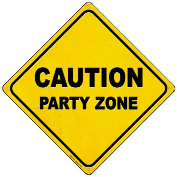 Caution Party Zone Wholesale Novelty Mini Metal Crossing Sign MCX-374