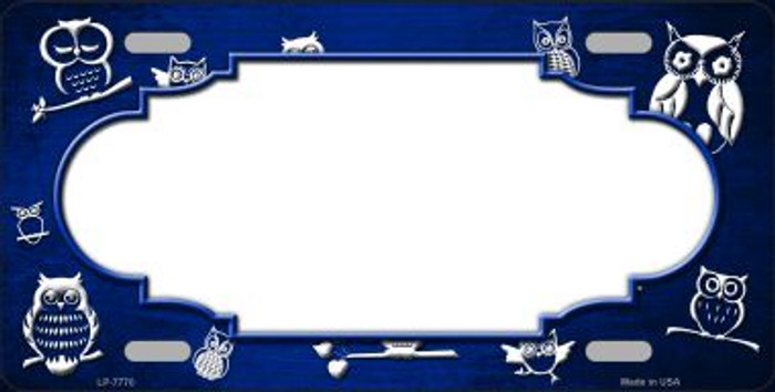 Blue White Owl Scallop Oil Rubbed Wholesale Metal Novelty License Plate